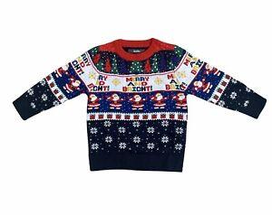Boys Kids Merry And Bright Christmas Jumper Xmas Festive