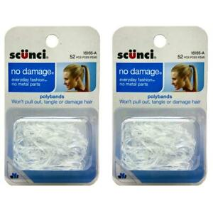 Scunci NO DAMAGE CLEAR POLYBANDS 52 Count (Pack of 2)