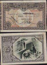 SPAIN 1937 Civil War BILBAO  25 Pesetas VF, Very Scarce
