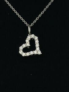 "Tiffany & Co Platinum 950 Diamond Heart Tag Pendant on PL950 Chain Necklace16"""