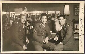 Military RPPC 3 WW II US Soldiers On Leave ~ Sam Roma's Club Tel Aviv Palestine