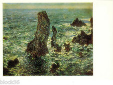 1986 Russian P/card Repro of Claude Monet's SEASCAPE painting ROCKS AT BELLE-ILE