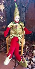 St Patrick Christmas Jester Dwarf Elf Ornament Poseable Green Red Pixie Irish