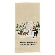 There's No Business Like Snow Business Christmas Bear Embroidered Dish Towel