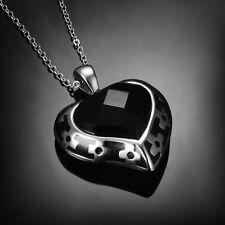 Fashion Stainless Steel Heart Zircon Pendant Necklace Chain Jewelry Women Gift