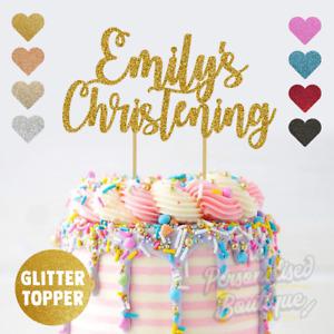 Personalised Custom Glitter Cake Topper Christening, Boys & Girls Add Any Name