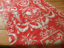 Antique French 19th Empire Urn Bird Insect Tassel Red Gray Cotton Fabric  #3 ~
