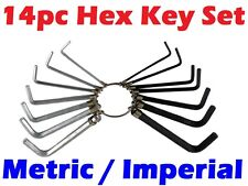 14PC Metric / Imperial Hex Hexagon Allen Alan Key Wrench Set With Keyring Holder
