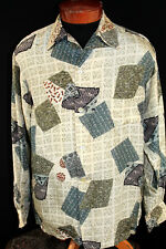 RARE COLLECTABLE 1950'S ROSS SUTHERLAND CREPE SILK PRINT HAWAIIAN SHIRT SZ MED+