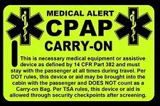Hi-Viz Yellow Carry-On CPAP  Bag Tag - TSA - CPAP BiPAP APNEA POC