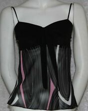 New black cami tank top pink and white print sheer back tie and bow accent