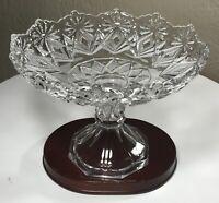"Vintage Depression Pressed Glass Tall Pedestal Centerpiece Compote Bowl 7"" MINT"
