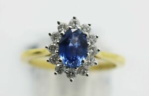 18ct Yellow Gold Diamond & Sapphire Cluster