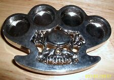 SKULL AND KNUCKLES BELT BUCKLE CHROME/SILVER TONED METAL