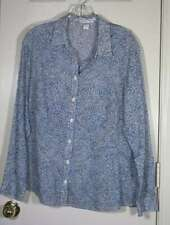 COLDWATER CREEK size XL 16 multi blue geometric long sleeve no iron shirt