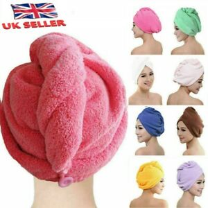 NEW QUICK DRY MAGIC HAIR TURBAN TOWEL MICROFIBRE HAIR WRAP BATH TOWEL CAP HAT UK