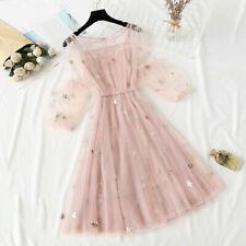 Women Sheer Mesh Dress Star Sequin Puff Sleeve Midi Elegant Fairy Lolita Fashion