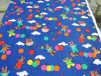 """BTY BLUE RAINBOW BUNNIES TEDDY BEARS BALLOONS ALL COTTON FABRIC 43"""" HOFFMAN"""