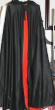 "Vintage 1970's Magician Show Cape Cloak Black & Red Satin Adult Size 58"" Length"
