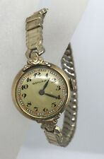 Vtg Gotham Art Deco Style Ladies Watch 7 Jewels NEEDS REPAIR Womens Stretch Band