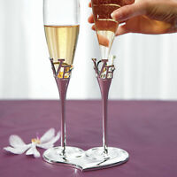 Wedding Champagne Flutes with Love Stem Design Glass Silver Stand