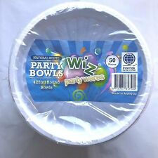 Bulk Lot 50x Plastic Disposable 425ml Round Food Party Dinner Bowls