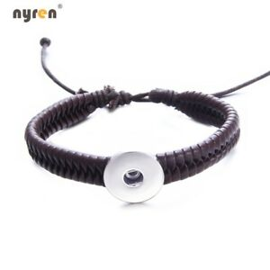 Woven Genuine Leather Snap Charms Bracelet Fit 18mm Snap Button Snap Jewelry 616