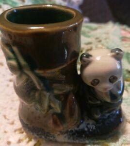 Panda Bear Tooth Pick Holder sitting beside Bamboo Vintage Porcelain Ceramic