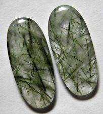 28.45 Ct Natural Green Rutilated Quartz(28.4mm X 12.6mm each)Cabochon Match Pair