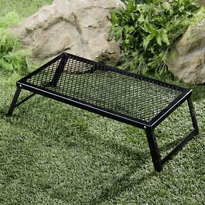 Heavy Duty Over-The-Fire Camping Grill with Grate Top and 4 Legs