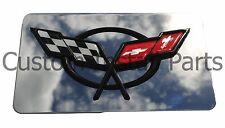 C5 Stainless Mirror Cross Flag Emblem Logo Filler Enhancer Exhaust Plate