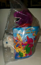 "Brand New 12"" Barney Vintage Plush Dinosaur w/ Twinken & Book The Chase Is On"