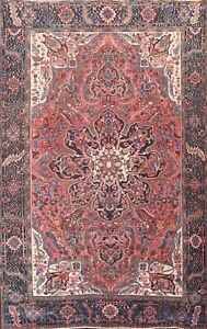 Antique Floral Medallion Oriental Traditional Area Rug Hand-knotted Wool 8x11 ft