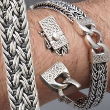 "Chain 925 Sterling Silver Mens Bracelet 9.5"" 49g Artisan Braided Snake Curb"