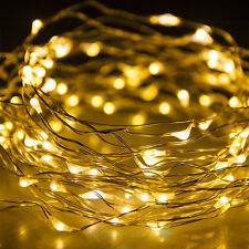 Warm White Battery Powered 100LED Copper Wire Xmas Party String Fairy Lamps 32FT