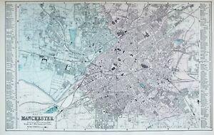 1883 LARGE MAP PLAN MANCHESTER SALFORD GOODS YARD INFANTRY BARRACKS CATHEDRAL