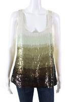 Lela Rose Womens Sleeveless Scoop Neck Silk Sequin Blouse Top Green Size 8