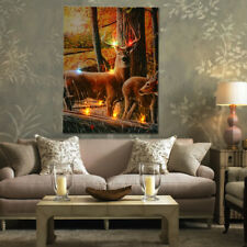 "16""x12"" Christmas LED Lighted Forest Deer Canvas Wall Print Art Picture Decor"