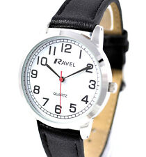 Ravel Gents Big Number Watch Big Clear White Face Minutes Long Black Strap Silv