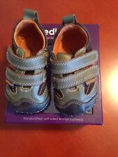Pediped Jax Green, Brown & Orange Baby Boy Shoes Sneakers sz XS (0-6 mos) VGUC