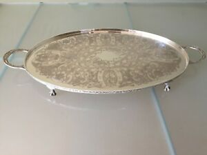 Viners Vintage Sheffield Silver Plate Twin Handled Oval Serving Tray Claw Feet