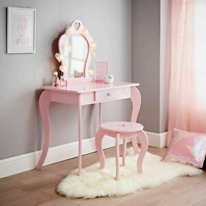 Amelia Vanity set looks great in any girls room Stool&Mirror Included White|Pink