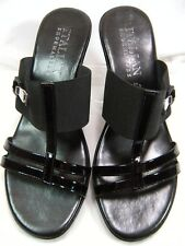 Italian Shoemakers Womens Sandals Size 9.5 Blk Patent & Elastic Made in Italy #U