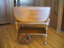 Vintage Drop Leaf Tea Butler Cart W. Drawer & Tray, Collapsible  Handle