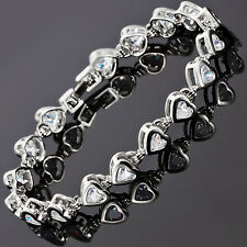 Sarotta Jewelry Charming Wedding 18K White Gold Plated Heart Cut Bracelet