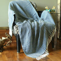 Cotton Teal Blue Throws Geometric Woven Soft Patio Throw Blanket 50 x 60 inches