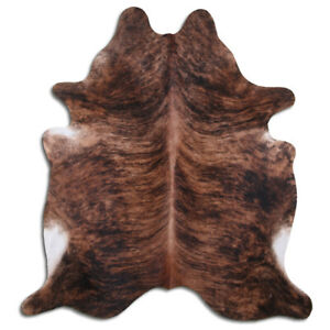 Real Cowhide Rug Brindle Size 6 by 7 ft, Top Quality, Large Size