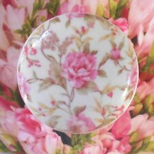 FRENCH wallpaper ceramic knob pull dresser Bedroom Bath vanity chic room roses
