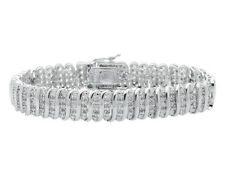 Ladies S Style Real Genuine Diamond  White Gold Finished 7.5 inch Bracelet 1.0ct