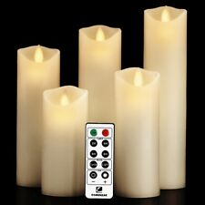 Moving Wick Flameless Candle 5 Set Candles with 10 key Remote Vanilla